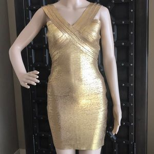 Bebe Etched Gold Bandage dress